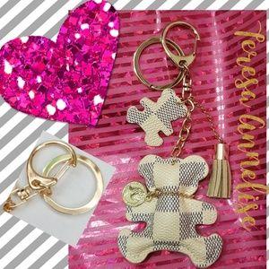 Accessories - (1) Beige/Blue Checkered Keyring/Bag Charm